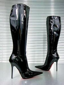 in ginocchio Nero Cq Custom 36 vernice Stivali Stiefel Couture al nero Stivali qgU0c