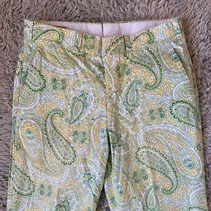 Vintage-60s-Herren-33x31-lime-gruen-gelb-Paisley-Hose-Talon-Hippie-Pulitzer