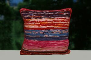 Indian-Hand-Loomed-Cushion-Cover-16x16-Rag-Rug-Pillow-Cases-2-Pcs-Square-Cushion