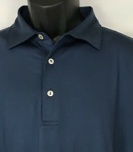 Peter-Millar-Golf-Polo-Shirt-Solid-Dark-Blue-Summer-Comfort-Mens-Large
