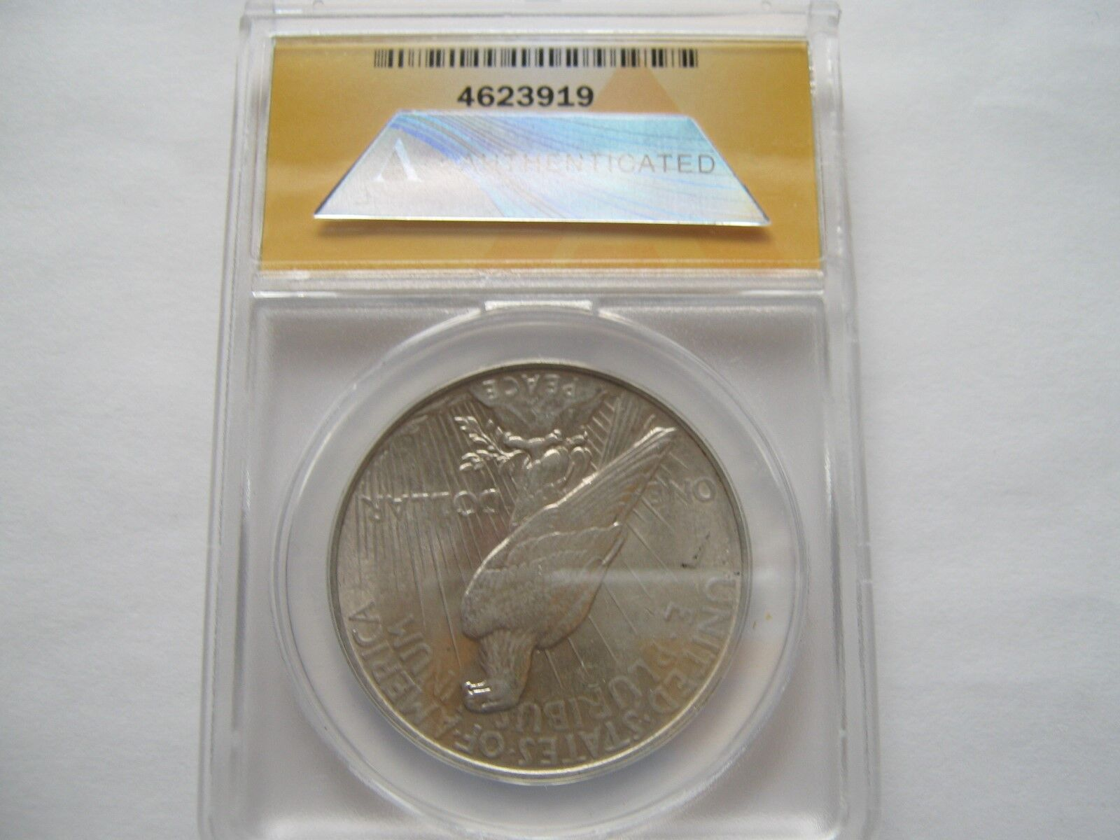 1924 , Peace Dollar , Anacs , AU 58 , Scratched