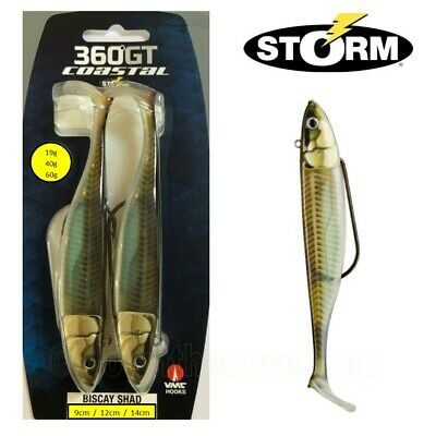 2 Storm 360GT Coastal Biscay Shad Weedless Lure 19g 40g or 60g Green Mackerel