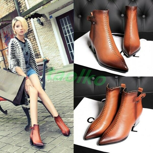 Fashion Womens Leather Punk Pointed Toe Chunky Heel Sexy Party Ankle Boots shoes
