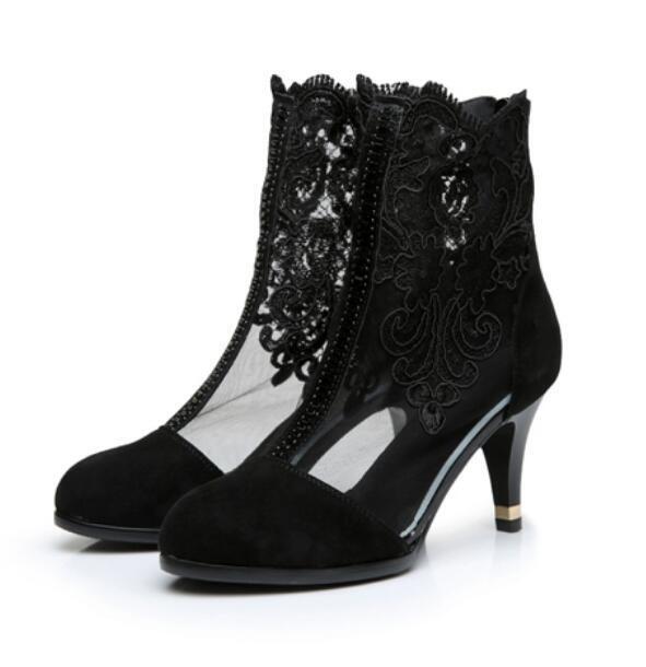 Vogue Mesh Heels Stiefel Damenschuhe Ankle Stiefel High Heels Mesh Sommer Stiefeletten 33-42 ff51aa