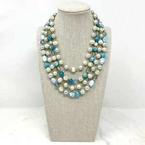 Vtg-Japan-4-Strand-Necklace-Blue-White-Glass-Plastic-Beads-Multi-1950s-Signed