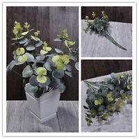 Random Color 16 Head Handmade Fake Eucalyptus Leaf Green Plant Home Office Decor