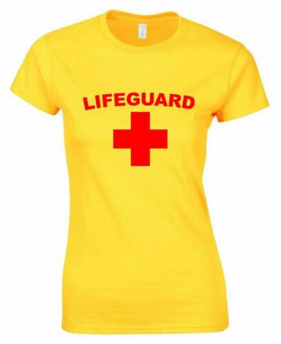LIFEGUARD Ladies T-Shirt 8-16 Yellow Funny Outfit Joke Fancy Dress Costume