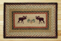Braided Hand Stenciled Rectangle Patch Rug By Earth Rugs. 2 Sizes. Moose