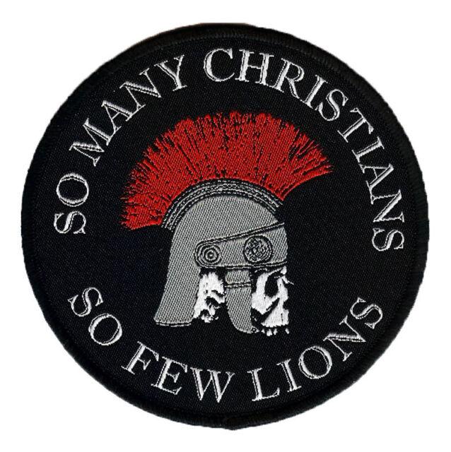 So Many Christians So Few Lions woven Patch Nero Skull  Roman Gladiator