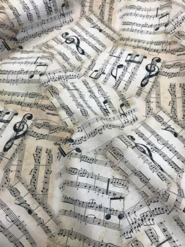 Musical Note Cotton Fabric Crafts Curtains Blinds Cushions