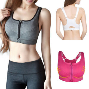 9d036ce90a Women Sport Bra Gym Yoga Zipper Stretch Padded Running Fitness ...