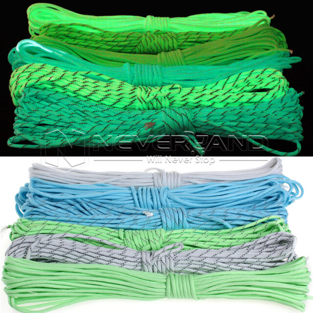 16/50/100FT 7 Core Strand 550Lb Luminous Nylon Paracord Parachute Cord Outdoor