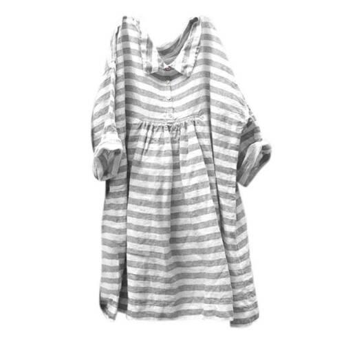 Damen Gestreift Sommerkleid Baumwoll Freizeitkleid Shirtkleid Tunikakleid Top