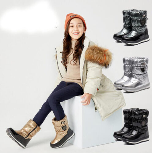 Girls Boy Kids Winter Warm Thermal Fur Lined Snow Boots Wellies Shoes Waterproof