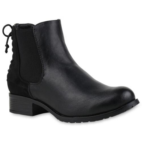 Damen Chelsea Boots Schleifen Stiefeletten Bequem Leder-Optik 811921 Trendy