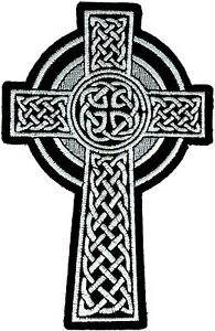 CELTIC-CROSS-Patch-Embroidered-Iron-Sew-On-christian-Badge-biker-Ireland