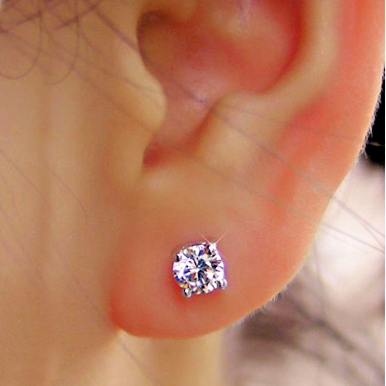 Real 0.50 Ct Diamond Solitaire Stud Earring Solid 950 Platinum Stud VS1 H-I Sale