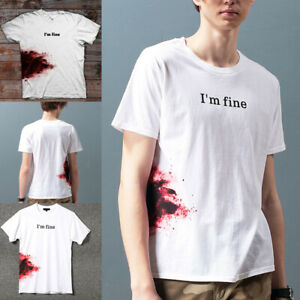 034-I-039-m-Fine-034-Men-T-shirt-Short-Sleeve-Round-Collar-Summer-Casual-Top-for-Party
