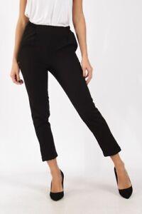 Pantalon femme 3/4 noir slim tailleur élastique
