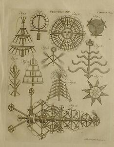 1797 Original Estampado Pyrotechny Fuego Funciona Fuego Apparatus