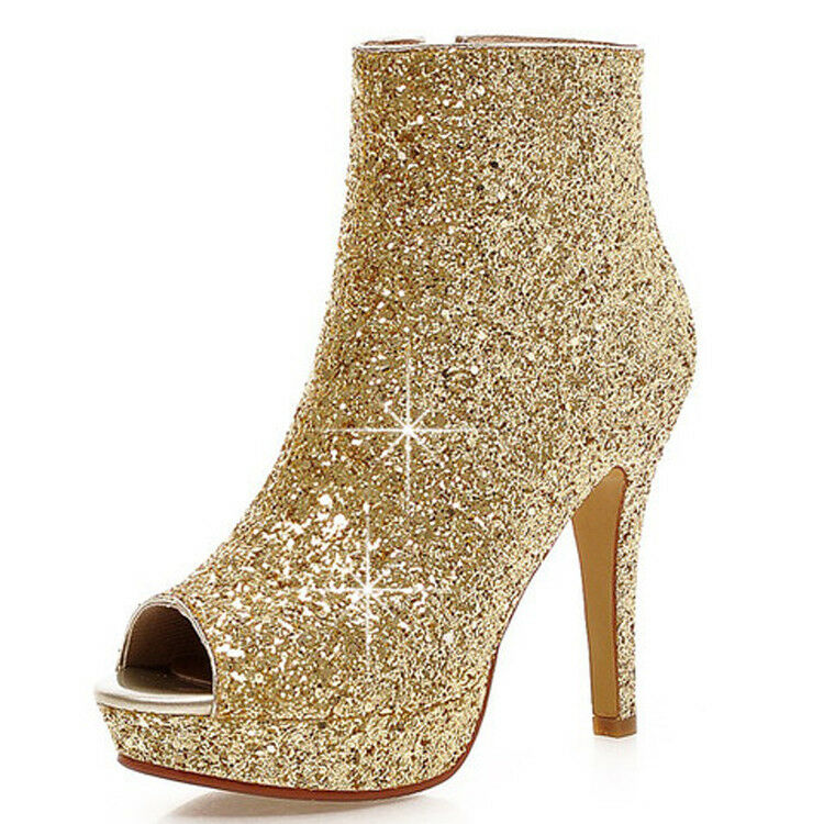 Original Intention Women Ankle Boots Bling Glitter Heel Prom Party shoes Women