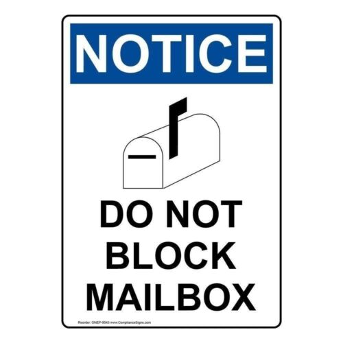 Notice Do Not Block Mailbox OSHA Safety Label Decal 5x3.5 in 4-Pack Vinyl
