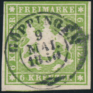 WURTTEMBERG-MiNr-13-a-sauber-gestempelt-gepr-Heinrich-Mi-140