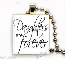 Daughters Are Forever Recycled Scrabble Tile Pendant Jewelry Family Love Moms