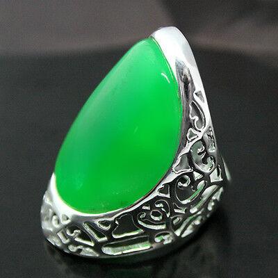 GREEN JADE GEMSTONE.925 STERLING SILVER RING SZ 7/8/9/10 Jewelry