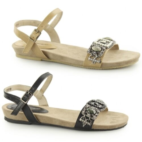 MELLISSA Ladies Womens Diamante Brooch Flat Ankle Strap Comfy Summer Sandals