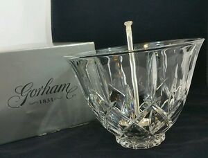 Gorham-Crystal-Lady-Anne-Punch-Bowl-amp-Silver-Plate-Ladle-Full-Lead-Crystal