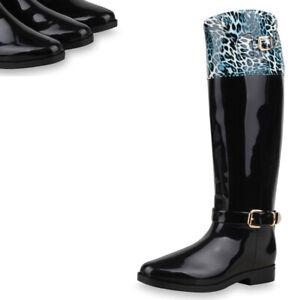 Details zu Extravagante Damen Stiefel Gummistiefel Lack Animal Print Leo 73976 Top