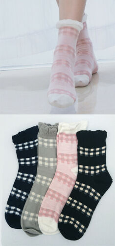 Soft Japanese Tartan Style Ruffle Socks 4 Colours Christmas Gift 1pc Size 4-7
