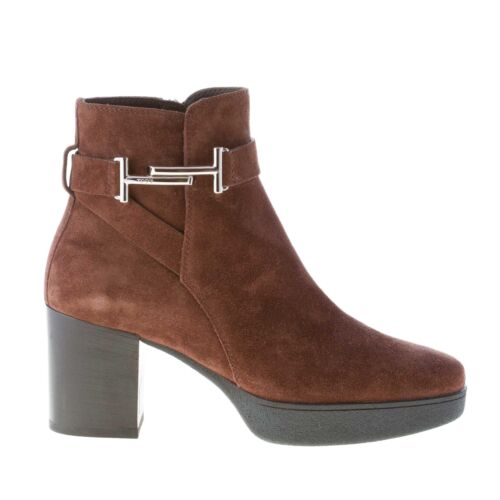 Ankle Buckle And Boot Chaussures t Brown With Tod's Suede Femme Double Zip wZ7PWwIq