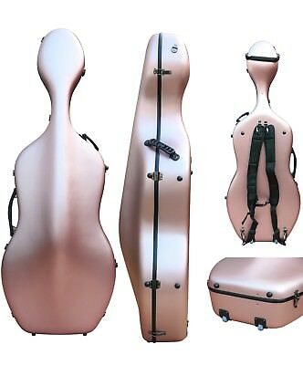 Cellos Delicious Cello Case 4/4 Carbon Fiber Cello Hard Case Box Rose Golden Strong Light 3.6kg Activating Blood Circulation And Strengthening Sinews And Bones