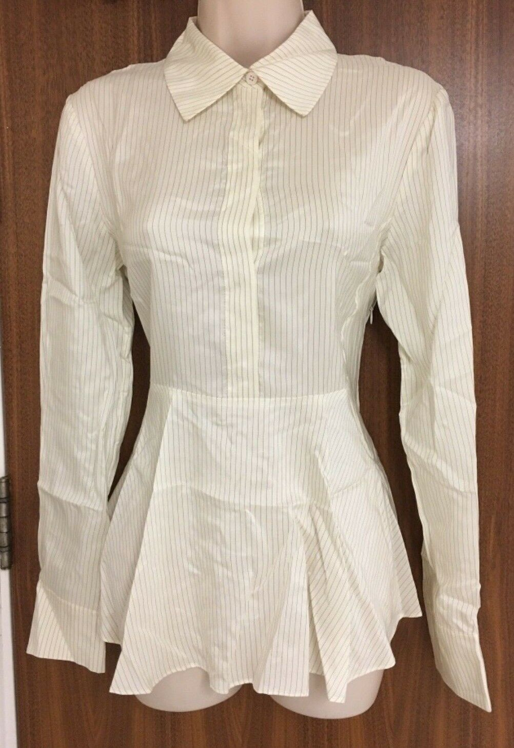 STELLA MCCARTNEY Ivory Silk Pinstripe Peplum Shirt  IT 38