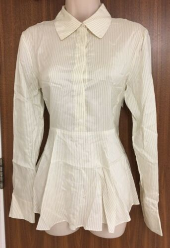 Uk Stella 8 Ivory Shirt it Silk Mccartney Pinstripe 38 Peplum rrqUY4x