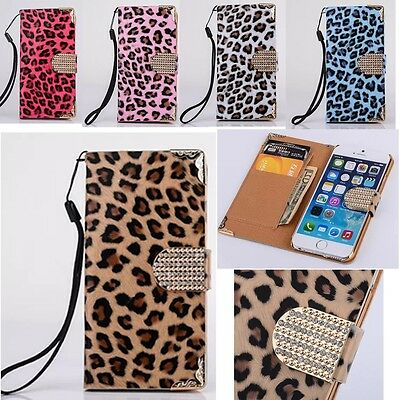 Bling Diamonds Leopard Leather Card Wallet Flip Cover Case for iPhone 6 4S 5S 5C