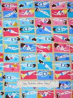 Timeless Treasures Fabric - Retro Beach Babes Tanning Blue Pink C1189 Yards