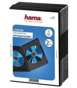 Hama-5x-DVD-Huellen-fuer-2-DVDs-2er-2-Fach-Leer-Huelle-Box-Case-CD-DVD-Blu-Ray-Disc