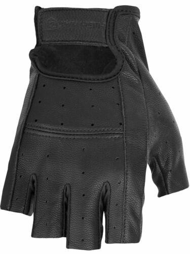 4XL Black Highway 21 Men/'s RANGER Fingerless Leather Motorcycle Riding Gloves
