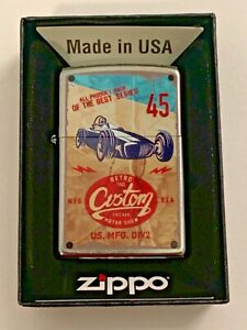 Zippo-Bradford-Lighter-Vintage-Trophy-Race-Car-New-In-Box-MAD-in-USA