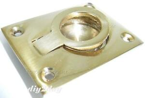 Solid Brass Flush Fitting Ring Pull Handles 52mm X 40mm