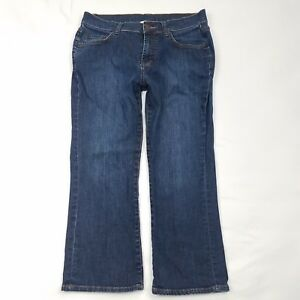 Garnet-Hill-Capri-Cropped-Jeans-Womens-Petite-Size-4-4P-Dark-Wash-Denim-Pants