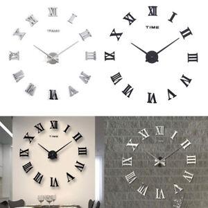 Luxury 3d Diy Wall Clock Roman Numeral Mirror Sticker Home