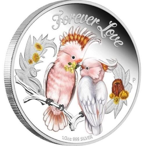 2014 Tuvalu  Forever Love COCKATOO PARROTS 1//2 oz colorized silver proof coin