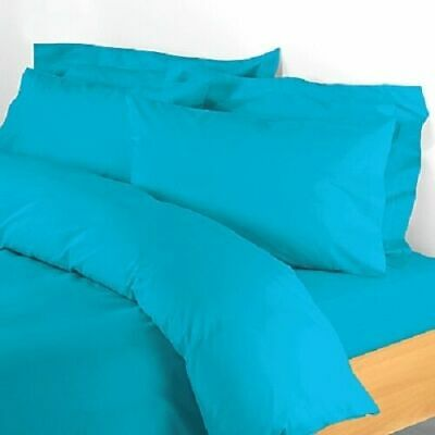 1200 Count Egyptian Cotton Extra Deep Pkt Blue Solid Bed Sheet Set