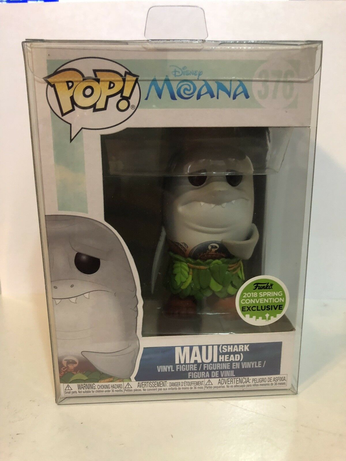 Funko Pop ECCC Spring Exclusive Moana-Maui Shark Head w  Pop Predector