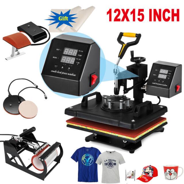 2aa3579e902 5 in 1 Heat Press Machine Swing Away Digital Sublimation T-shirt Mug Plate  Hat
