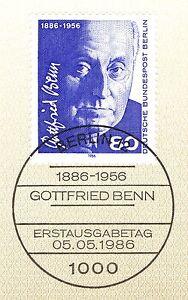 PréVenant Berlin 1986: Gottfried Benn Nº 760 Avec Propre Ersttags Cachet Spécial! 1802-stempel! 1802fr-fr Afficher Le Titre D'origine